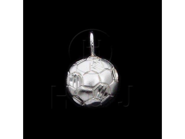 Sterling Silver DiamondCut Sports Charm Soccer