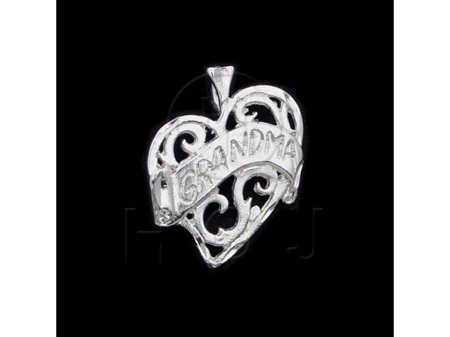 Sterling Silver DiamondCut Heart Talking Charm Grandma (Mom)