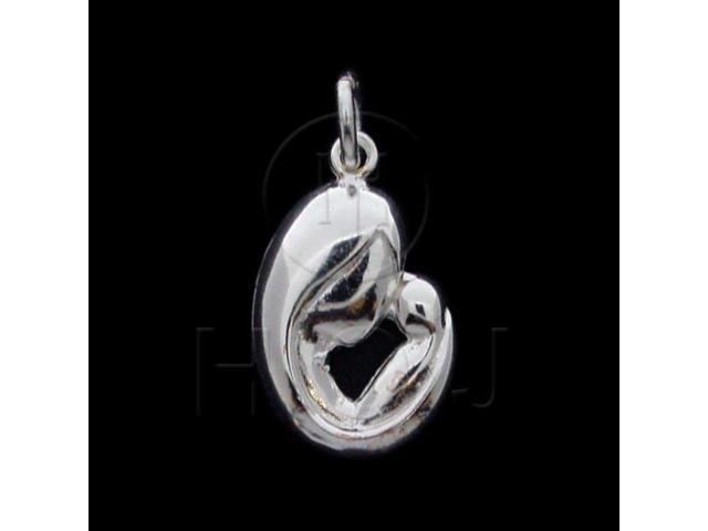 Sterling Silver DiamondCut Heart Charm Mom & Baby