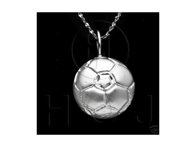 Sterling Silver DiamondCut Sports Charm Soccer
