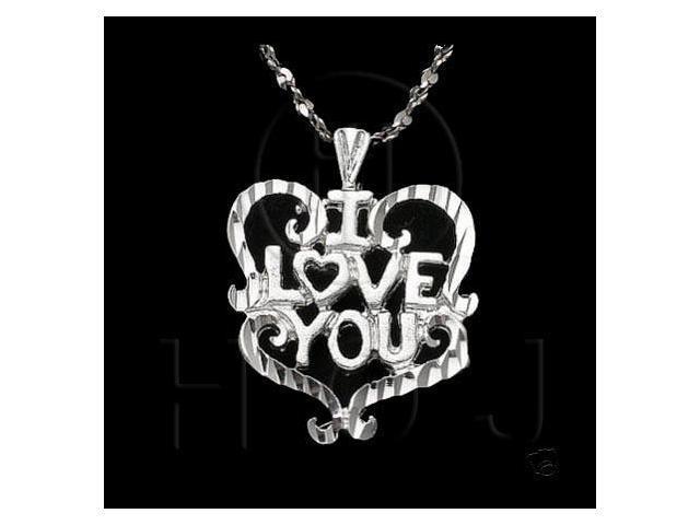 Sterling Silver DiamondCut Heart Talking Charm I Love You (Mom)