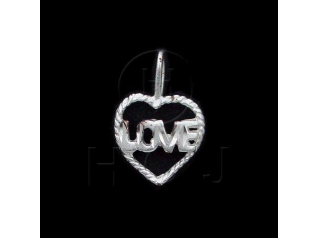 Sterling Silver DiamondCut Heart Talking Charm Love