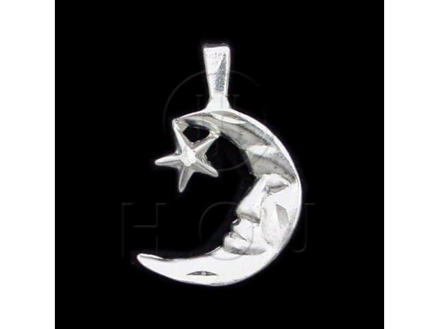 Sterling Silver DiamondCut Nautical Charm Moon