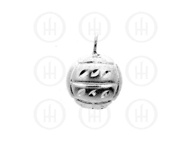 Sterling Silver DiamondCut Sports Charm Volleyball