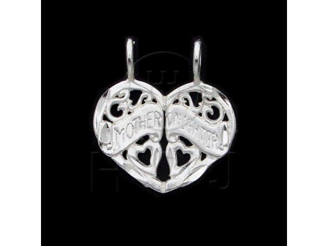 Sterling Silver DiamondCut Heart Talking Charm Mom Daughter