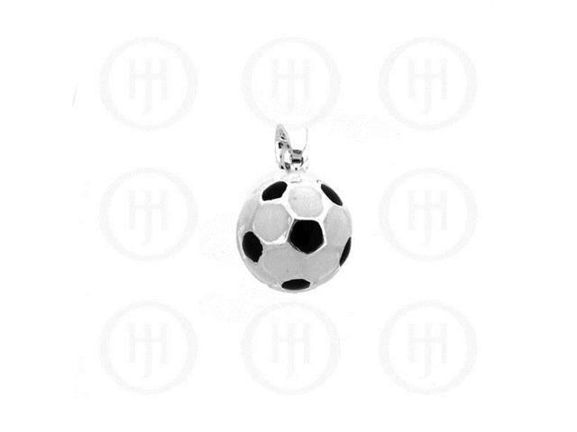 Sterling Silver Enamel Charm Soccer Ball