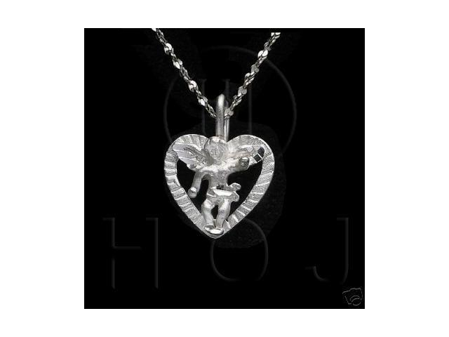 Sterling Silver DiamondCut Religious Charm Heart Angel