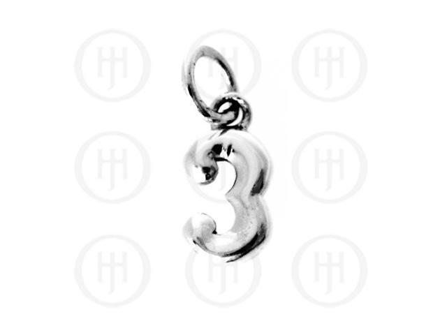 Sterling Silver Alphabet-Number 3 Charm
