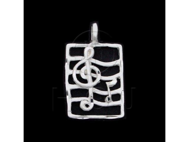 Sterling Silver DiamondCut Musical Charm Note