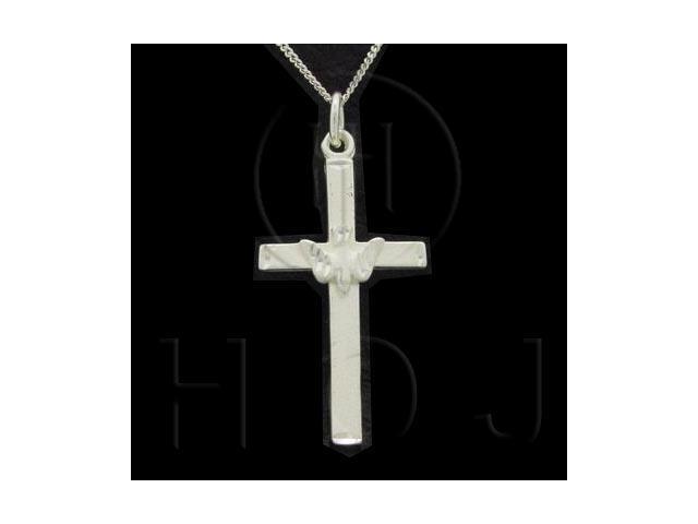 Sterling Silver DiamondCut Religious Charm Dove Cross