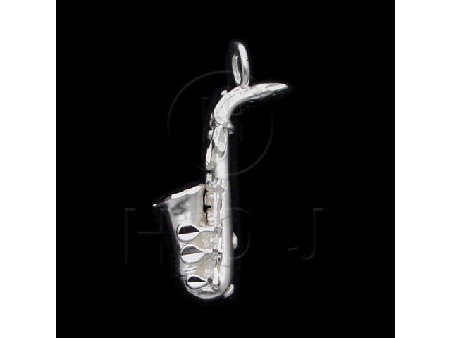 Sterling Silver DiamondCut Musical Charm Saxophone