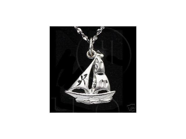 Sterling Silver DiamondCut Nautical Charm Ship Boat