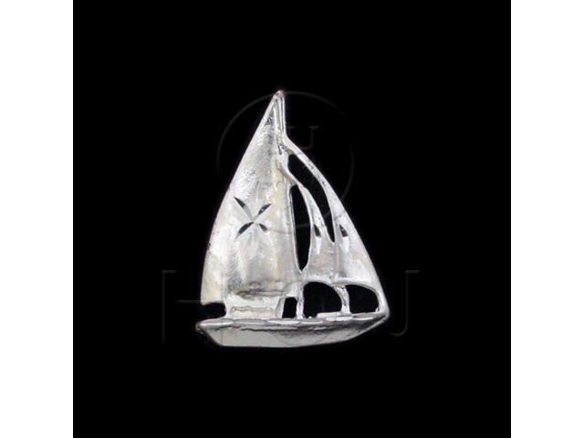 Sterling Silver DiamondCut Nautical Charm Ship Boat