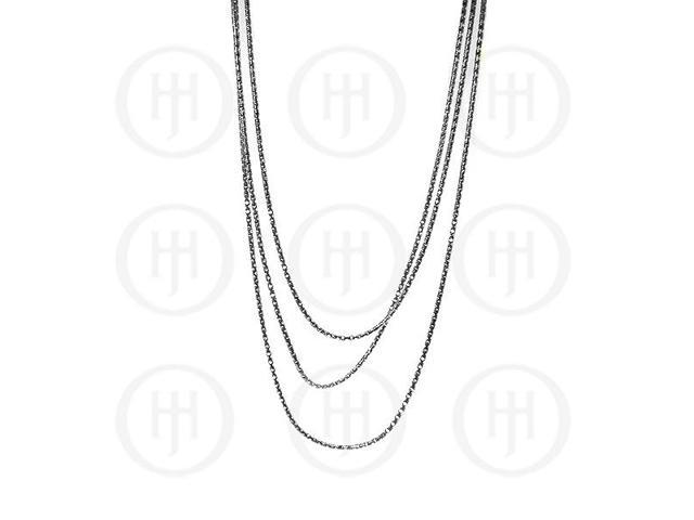 Sterling Silver Fancy Chain Assorted Black Colour Chain  16 inches