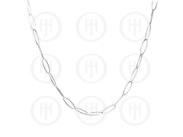 Sterling Silver Fancy Fancylink Rhodium Plated Chain  8 inches