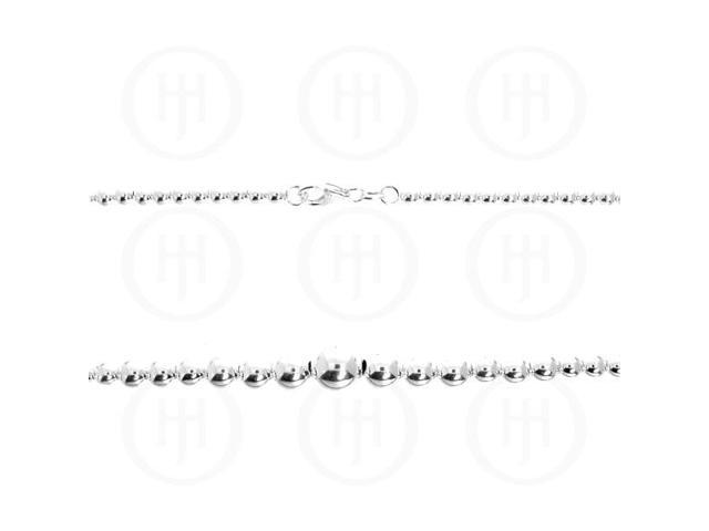 Sterling Silver Chain Ball Graduated  18 inches