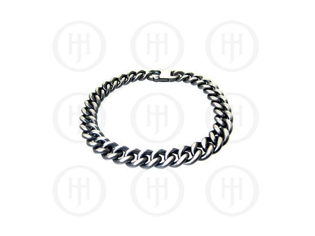 Sterling Silver Oxidized Chain Curb  8 inches