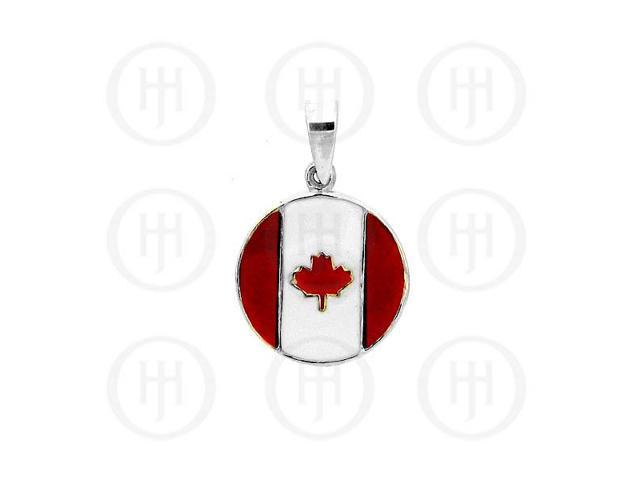 Sterling Silver Circular Canadian Flag Pendant