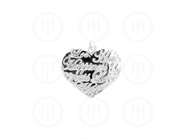 Sterling Silver Tiffany Inspired Inspirational Pendant Love Happiness
