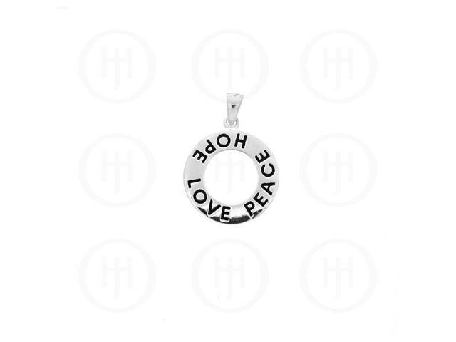 Sterling Silver Tiffany Inspired Inspirational Pendant Love Peace Hope