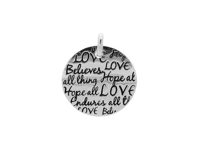 Sterling Silver Tiffany Inspired Inspirational Pendant Love -  Believes -  Hopes