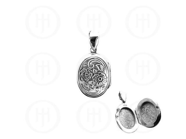 Sterling Silver Engraved Oval Locket Pendant 16.8mm x 31mm