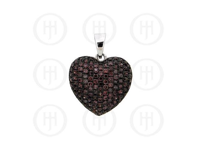 Sterling Silver CZ Puffed Heart Micro Pave Pendant Chocolate Large