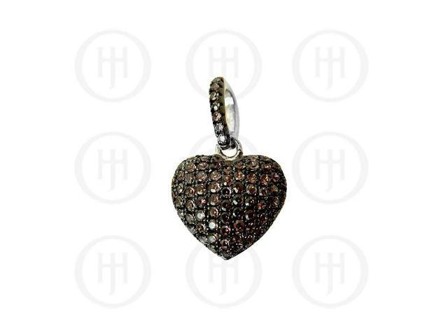 Sterling Silver CZ Puffed Heart Micro Pave Pendant Chocolate Small
