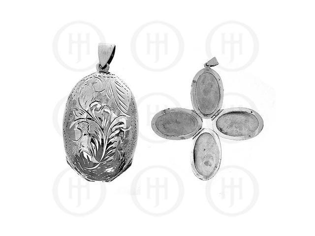 Sterling Silver Engraved Oval Locket Pendant 33mm x 22mm