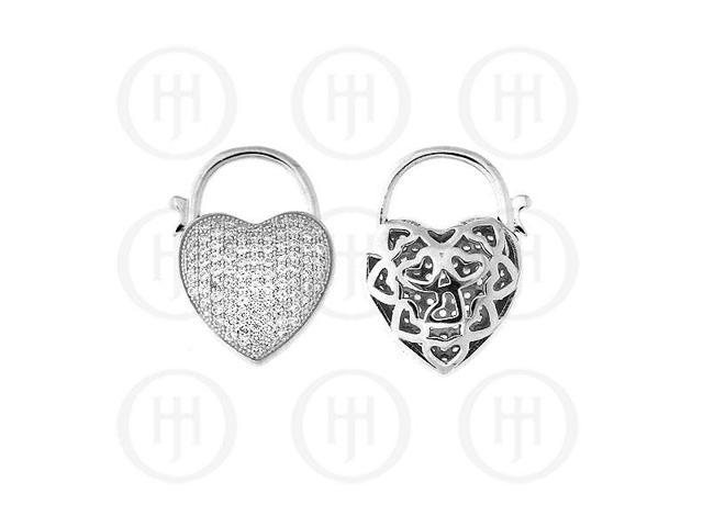 Sterling Silver CZ Puffed Micro Pave Heart Lock Pendant