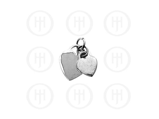 Sterling Silver Double Heart Dog-Tag Pendant