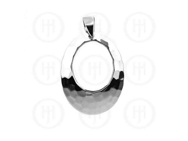 Sterling Silver Hammered Oval Pendant