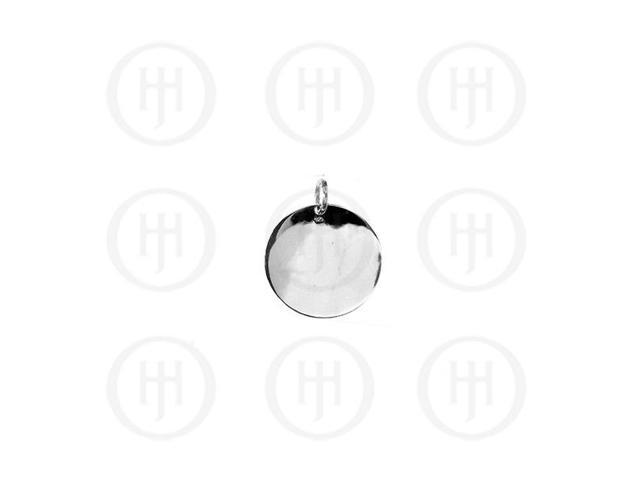 Sterling Silver Round Dog-Tag Pendant 13mm