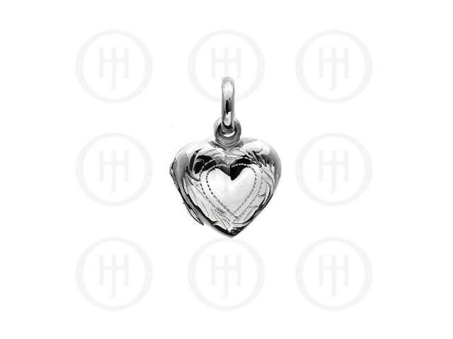 Sterling Silver Engraved Heart Locket Pendant 12mm
