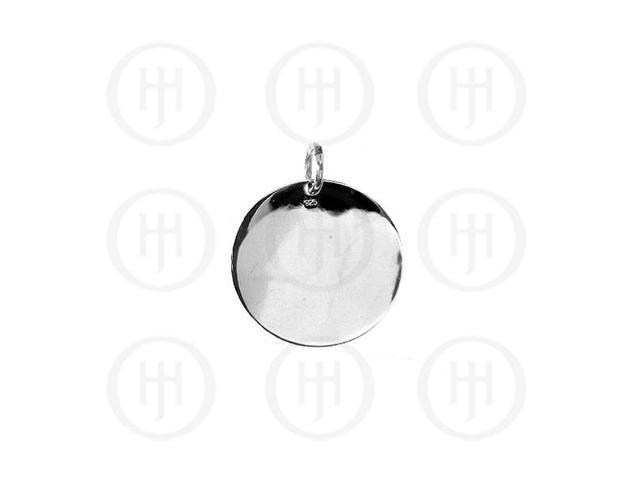 Sterling Silver Round Dog-Tag Pendant 20mm
