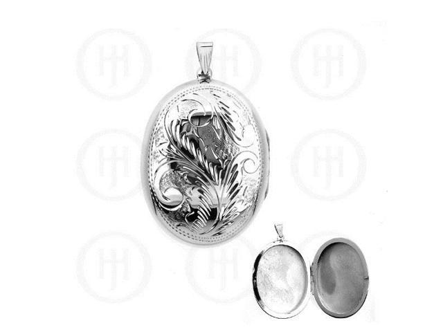Sterling Silver Engraved Oval Locket Pendant 40mm x 55mm