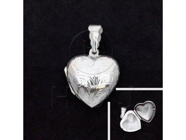 Sterling Silver Engraved Heart Locket Pendant 21mm
