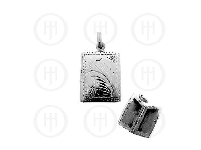 Sterling Silver Engraved Rectangle Locket Pendant