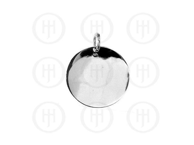 Sterling Silver Round Dog-Tag Pendant 25mm