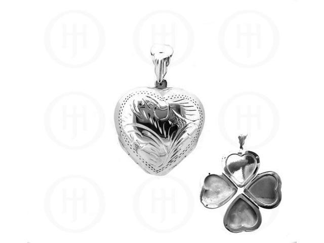 Sterling Silver Engraved Heart Locket Pendant 24mm x 35mm