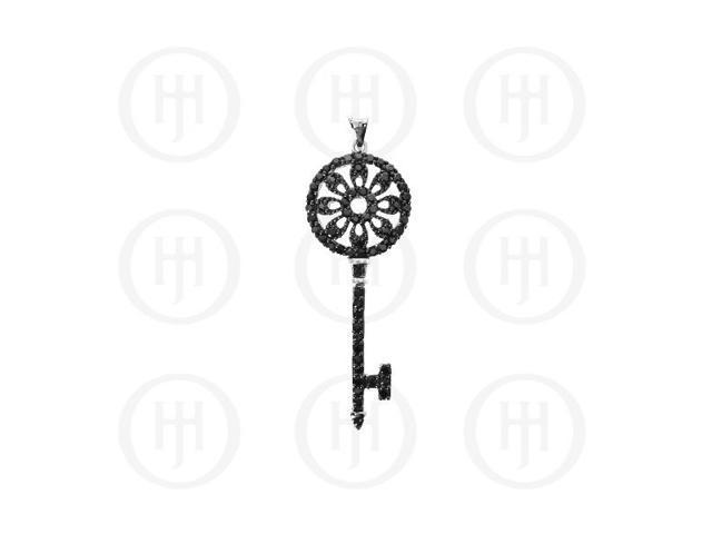Sterling Silver Black CZ Tiffany Inspired Key Pendant