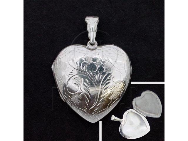 Sterling Silver Engraved Heart Locket Pendant 32mm