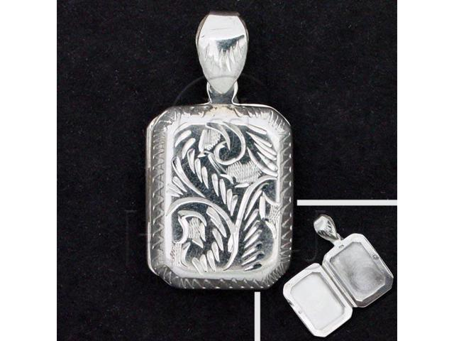 Sterling Silver Engraved Rectangle Locket Pendant 12mm