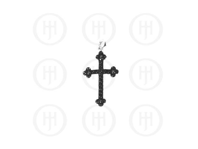 Sterling Silver Black Cubic Zirconia Religious Cross Pendant