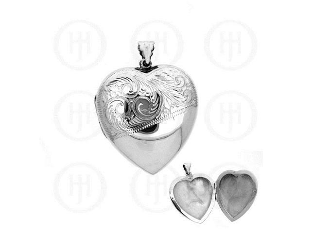 Sterling Silver Engraved Heart Locket Pendant 40mm x 51mm