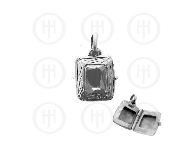 Sterling Silver Engraved Rectangle Locket Pendant 20mm