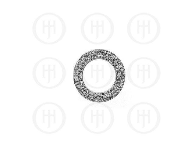 Sterling Silver CZ  Circle Micro Pave Pendant