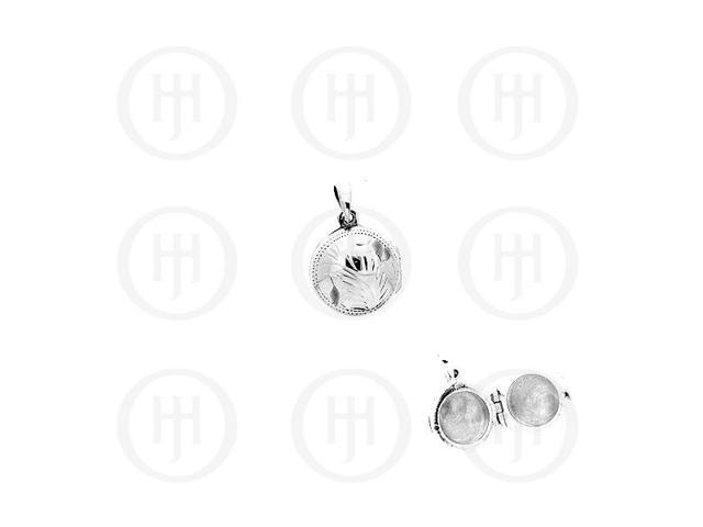 Sterling Silver Engraved Round Locket Pendant 10mm
