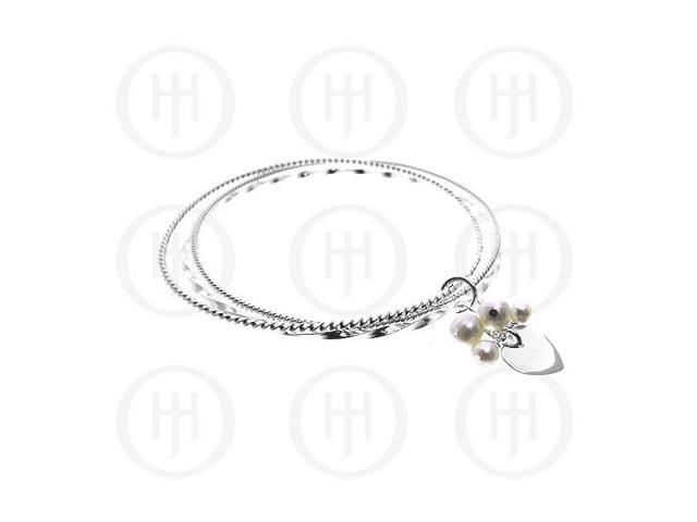 Sterling Silver Pearl Pendant Bangle