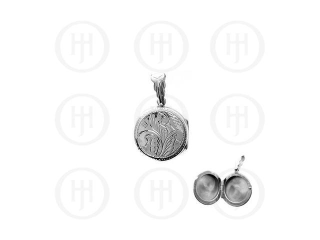 Sterling Silver Engraved Round Locket Pendant 20mm